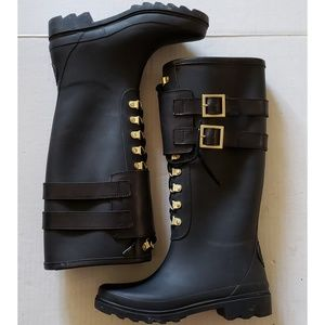Tory Burch Black and Gold Lace up Rain Boots